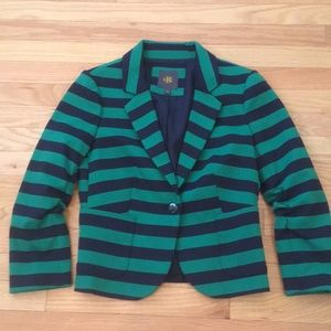 NWOT Emerald Green & Navy Stripe Blazer